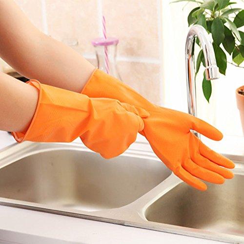 Amaoma Reinigen Sie Latex-Gummi-Handschuhe Wäsche Handschuhe dauerhaft Kunststoff-Gummi-Handschuhe waschen Hausarbeit zu tun (Orange)