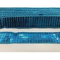 5m lentejuelas cinta de encaje para Manualidades, disfraz, costura etc 25mm de ancho TURQUOISE BLUE