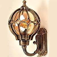 Injuicy Loft Vintage Retro Industrie Wasserdicht Draußen Wandlampe Licht Globus Glas Aluminium Lampeschirm Außenwandleuchten Wandleuchten Lampe Antik Kaffee Wandleuchte Balkon Hof Garten Hortensie (Gold & Dur.182mm)