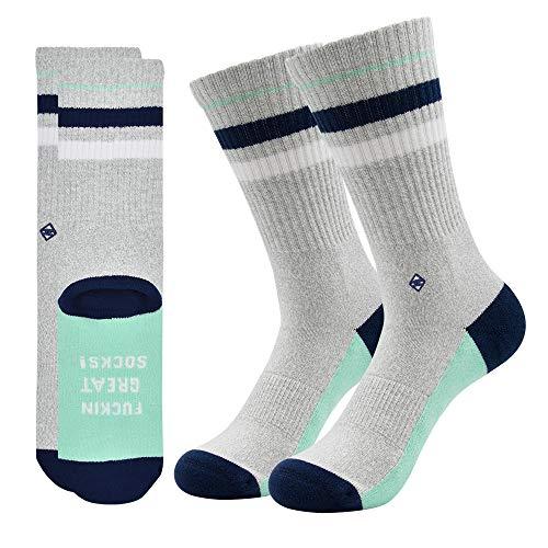 F**** Great Socks | J.Clay Premium Tennissocken, Graue Retro Socken mit Streifen, JClay Bunte Socken Oldschool Damen & Herren Sportsocken mit Spruch Größen S 35-38