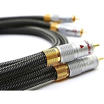 Ricable Hi-End RH05 - 0,5 mètres - Câble Hi-Fi audio stéréo RCA signal 2m/2m. Qualité Hi-End pour la connexion de sources analogiques à l'amplificateur avec conducteurs torsadés en cuivre OFC et connecteurs professionnels. Conception italien et garantie à vie.