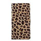 Für Alcatel Onetouch Pixi 4 5010D (5,0 Zoll) (3G),Sunrive® Magnetisch Schaltfläche Ledertasche Schutzhülle Etui Hülle mit Standfunktion Cover Tasche Case Handyhülle Kartenfächer Kreditkarte Taschen Schalen Handy Tasche Flip Wallet Stil Lederhülle(Leopard)+Gratis Universal Eingabestift