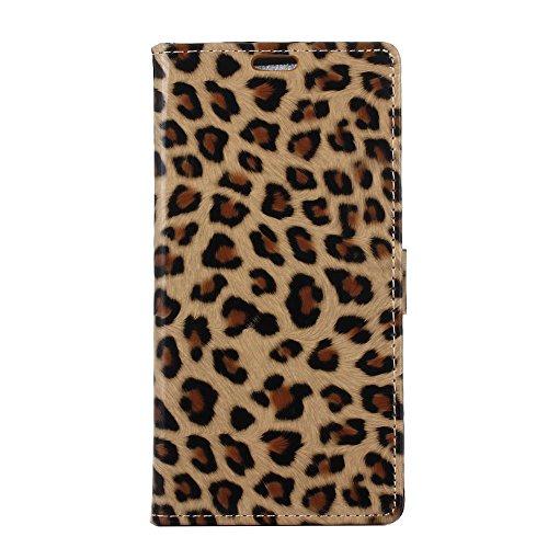Voguecase® Per Samsung Galaxy J5 2016, (Leopard giallo) Elegante borsa in pelle Custodia finestra Case (Leopard Elegante)