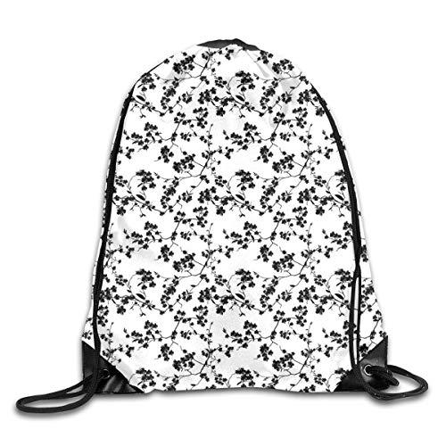 EELKKO Drawstring Backpack Gym Bags Storage Backpack, Monochrome Sakura Flower Silhouette Blooming Nature Illustration Spring Season Theme,Deluxe Bundle Backpack Outdoor Sports Portable Daypack