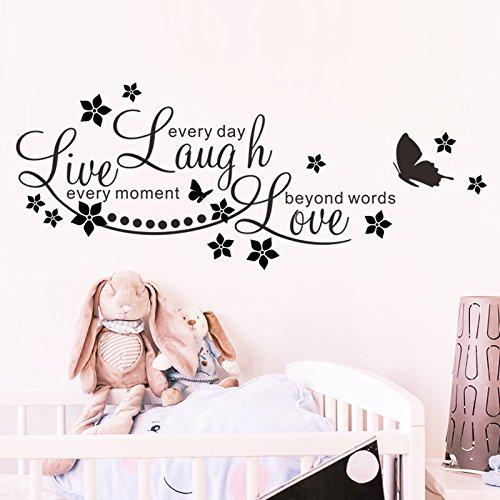WDQTDW Wandaufkleber Wall Sticker Live Laugh Love Schmetterling Star Wand Aufkleber Aufkleber Inspirational Quotes Wohnzimmer Schlafzimmer Dekoration Poster DIY Wandmalerei Kunst - Inspirational Quotes Wand-aufkleber