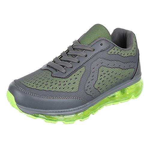 Damen Schuhe, 376-11, Freizeitschuhe SNEAKERS TURNSCHUHE Grau Grün