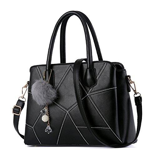 Wu Zhi Ladies Estate Pu Borsa A Tracolla Messenger Bag Piccola Borsa Quadrata Nera
