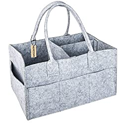 INDRESSME Large Baby Diaper Caddy Nursery Storage Bins Baby Toys Containers Diaper Holder Easy to Carry Car Organizer for Baby Wipe or Diapers