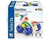 Selecta 62024 Autolino, Nachzieh Auto, Schiebe-und Nachziehspielzeug aus Holz, 11 cm