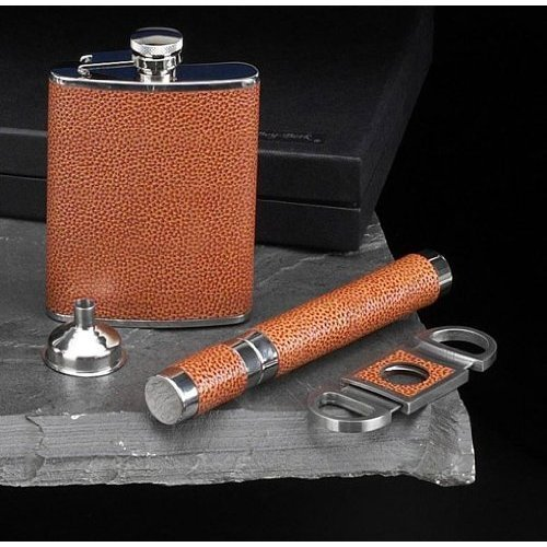 Genuine Leather Stainless Steel Flask, Funnel,Cigar Holder & Cutter