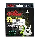 Alice AE530set di corde per chitarra elettrica extra Light (.008'-.038) -plated corde in acciaio dorato con estremità a sfera