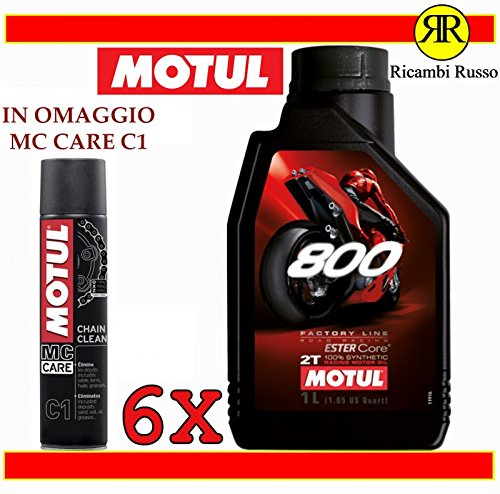 Motul 800 2T Factory Line Road racing olio motore moto 2 tempi litri 6 + OMAGGIO MC Care C1 Ch