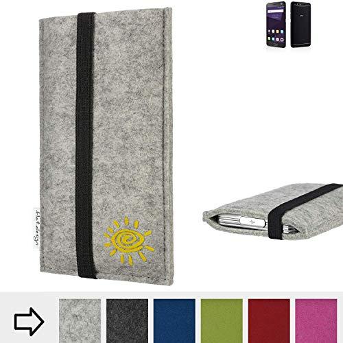Handyhülle COIMBRA mit Sonne und Gummiband-Verschluss für ZTE Blade V8 64 GB - Schutz Case Etui Filz Made in Germany in hellgrau schwarz gelb - passgenaue Handy Tasche für ZTE Blade V8 64 GB