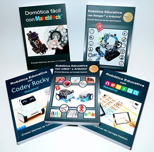 Pack 5 libros Makeblock (mBot, Ranger, Neuron, Codey, domótica) con dto. 20%