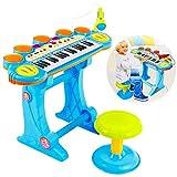 Piano mit Mikrofon und Hocker Piano Kinderpiano Keyboard Spielzeug Klavier KP8285 Musikinstrument Mikrofon NEU Viele Funktionen (KP8285BLU)