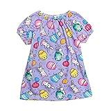 jieGREAT ☘ , Niño pequeño bebé niñas Dibujos Animados Huevo de Pascua Conejo impresión Princesa Vestido Trajes (120, Púrpura)