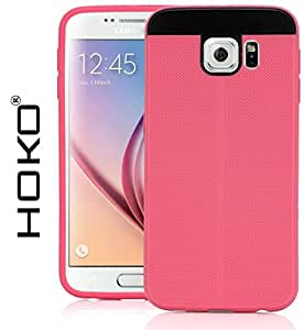 Galaxy S6 duos Case, HOKO® Fusion Hybrid (Exact-Fit) Grip TPU Hybrid Back Case Cover For Samsung Galaxy S6 duos (Pink)
