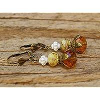 Vintage Ohrringe mit Glasperlen - hellbraun & weiß
