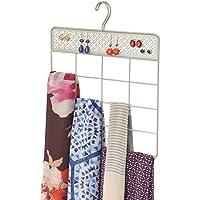 mDesign Organizador de ropa y accesorios para armario – Práctica percha para pañuelos, corbatas y