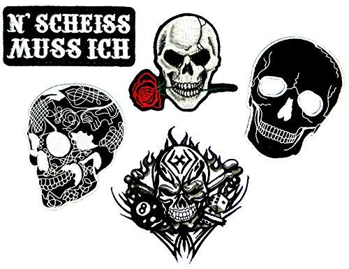 (i-Patch - Patches - 0087 -Totenkopf - Schwarz - Acht - 8 - Würfel - Rose - Aufnäher - Sticker - Badges - Flicken - Bügelbild - Aufbügler - Iron-on - Applikation - Zum aufbügeln - Skelett)