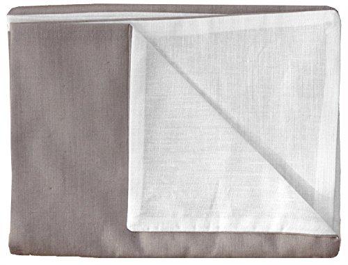 P'tit Basile- Taie d'oreiller enfant - bébé 40x60cm Collection Chouette - bicolore réversible écru et taupe - 100% coton biologique 57 fils/cm2
