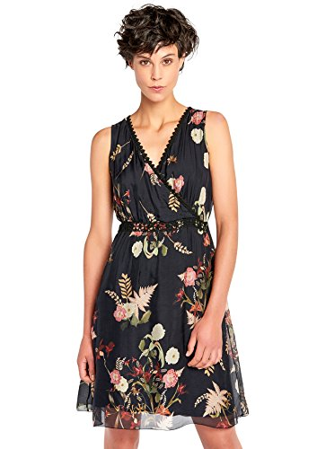 LOLALIZA Cache Coeur Dress with Floral Print - Black - Size 42 (Floral Sleeveless Kleid Silk)
