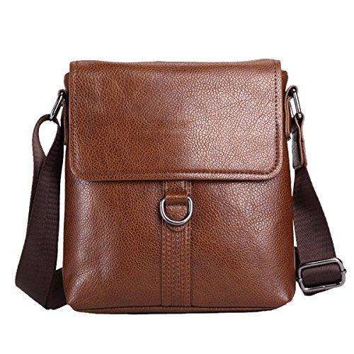 Yy.f Kreative Männer Umhängetasche Lässig Einfache Messenger Bag PU Leder Herren Rucksack Reisen Arbeit Reisen Computer Tasche (schwarz Und Braun),Brown-20*3.5*23cm