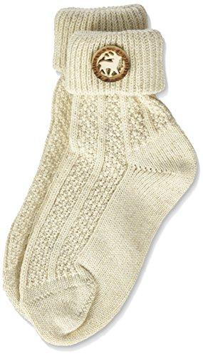 Lusana Mädchen Kniestrümpfe Kinder-Umschlagsocke mit Hirschknopf, (Beige Meliert 75), 23-26