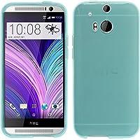 PhoneNatic Case für HTC One M8 Hülle Silikon türkis transparent + 2 Schutzfolien