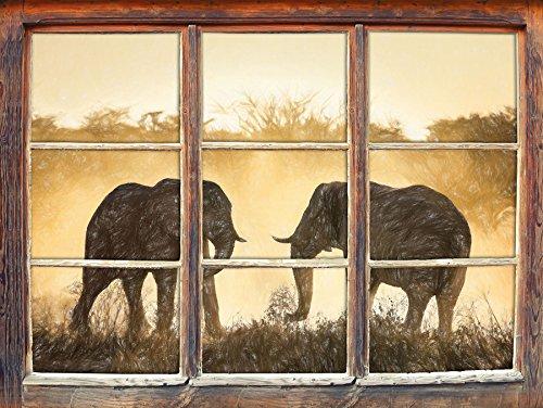 Les éléphants de combat effet de crayon d'art Fenêtre en 3D look, mur ou format vignette de la porte: 62x42cm, stickers muraux, sticker mural, décoration murale