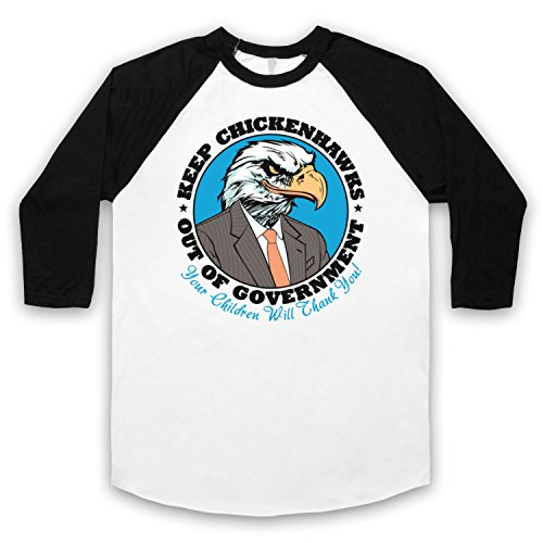 Keep Chickenhawks Out Of Government Political Slogan 3/4 Hulse Retro Baseball T-Shirt Weis & Schwarz