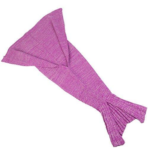 (S-D kuschelige Decke im Meerjungfrauen Stil. Handgefertigte mädchen Spielzeug in Schlafsack Ausführung aus angenehmem Woll-Strick mit süßer Flosse am Ende. Ideal für Geschenke Damen und Kinder (140 cm x 70 cm, Rosa))