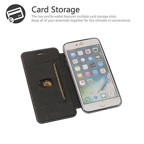 iPhone 7 Plus Hülle, iPhone 7 Plus Lederhülle, Coodio Ledertasche Handyhülle Wallet Brieftasche Tasche mit Kartenfach Schutzhülle Silikon Durchsichtig für iPhone 7 Plus - Goldene Schwarz