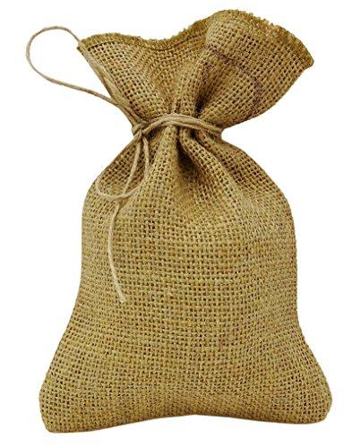 50 rustica naturale del favore del banquete di nozze Sacco di juta con coulisse lo ringrazia piccolo regalo sacco sacchetti 4 x 6,5 ' marrone