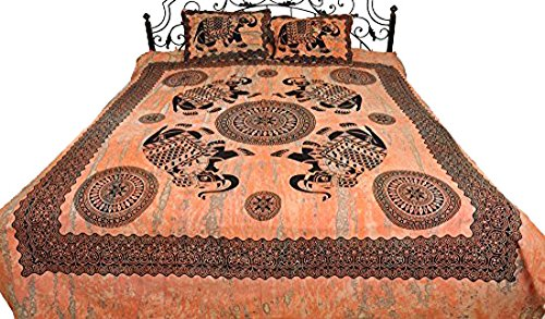 Coral-Sands Batik-Dyed Bedsheet with Printed Elephants and Chakras - Pure Cotton with Pillow Covers (Coral Sand Coral)