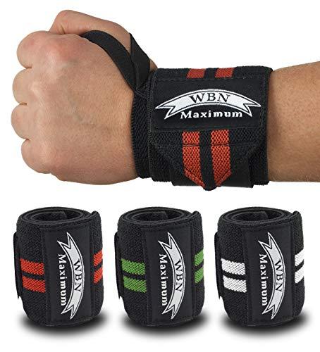 WBN Maximum Handgelenkbandagen und Griffpolster (2Paar/4Stk) Wrist Wraps Grip Pads Handgelenk Bandagen 45 cm – Krafttraining,Bodybuilding,Powerlifting,Gewichtheben (Weiß)