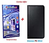 RidivishN (COMBO OFFER) for Gionee P5 Mini - - - Leather Finish Flip Cover Case (Black) + Premium Tempered Glass Screen Protector - - - (Transperent)