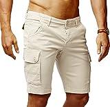 LEIF NELSON Herren Cargo Hose Shorts Sommer Kurze Hose Chino Bermuda Stretch Slim Fit LN1345; W32; Beige