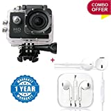 """#7: Piqancy Combo of Ultra HD 1080p 12MP 2.0"""" LCD Touch Screen Sport Action Camera & Earphone handsfree with Mic, Sound Controller, Call Receiver and Call End Button Compatible with Xiaomi, Lenovo, Apple, Samsung, Sony, Oppo, Gionee, Vivo Smartphones"""