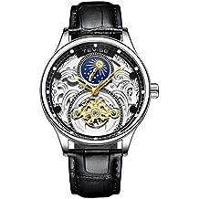 Hermosos Relojes tevise Hollow Reloj mecanico automatico tourbillon Fase Lunar Reloj de Hombre