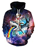 Leapparel Funy Langarm Sport Pullover Hoodie Sweatshirt für Herren und Damen Cool Grafik Design Kleidung Shark Cat 2XL/3XL
