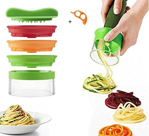 SIEGES Spiralschneider für Gemüse Spargel, Gurken und Obst 3 Klingen Schäler Slicer cutter mit Orange Peeler