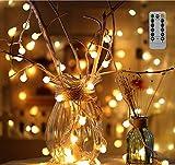 100er LED Kugeln Lichterkette Batteriebetrieben 10m warmweiß Stimmungslichter, Innen und Außen Lichterkette Sternlicht für Weihnachten, Hochzeit, Party, Ferien