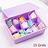 #10: CONNECTWIDE® 15 Grid Plastic Organizer Box Underwear Storage Box Plastic Bra Underwear Socks Storage Box with Lid Clothing Organizer (1 pc) (Purple)