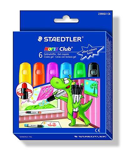 Staedtler Noris Club 2390G1 C6. Ceras con textura gel. Pack de 6 unidades con colores variados.