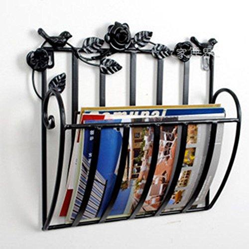 AMYDREAMSTORE Zeitungshalter für die Wand Hängenden Korb Zeitungsständer Metall,Für Haus Bad büro-Schwarz 30x13x30cm(12x5x12)
