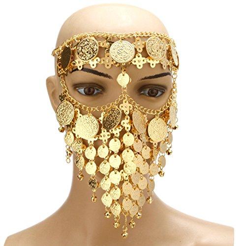 l Ägyptische Halloween Kostüm Kopfbedeckung Münzen Gesichtsmaske Schleier Tribal Beduine Burka Burqa Metall Kopf Kette (Gold) (Ägyptische Bauchtänzerin Kostüm)