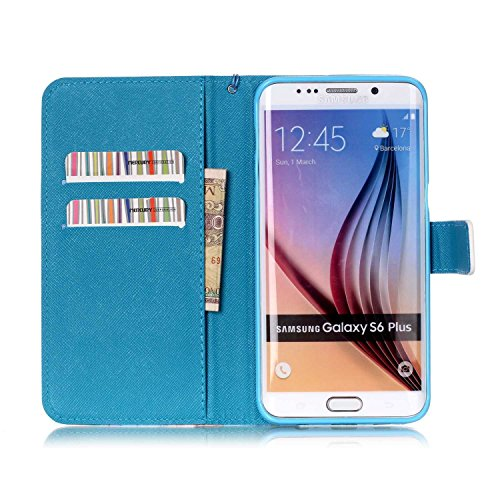 Copertura per Samsung Galaxy S6 Edge Plus in pelle, Samsung Galaxy S6 Edge Plus Custodia Portafoglio, S6 Edge Plus Case Cover, Ukayfe blue Wave-this iphone is locked Design dellunità di elaborazione  colorato-Alba in mare
