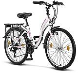 Licorne Bike Stella (Weiss) 24 Zoll Kinderfahrrad, ab 135 cm, Fahrrad-Licht, Shimano 21 Gang-Schaltung, Damen-Citybike, Mädchen-Citybike, Mädchenfahrrad, geignet für 8,9,10,11, Mädchen, Fahrrad
