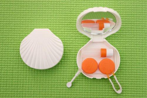Kontaktlinsenbehälter Aufbewahrungsbehälter Etui Set Spiegel Schneckengehäuse Weiß NEU